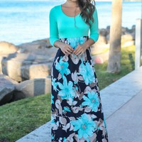 Navy and Mint Floral Maxi Dress with 3/4 Sleeves