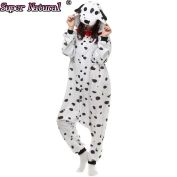 HKSNG Cheap DHL Dalmatian Dog Pyjamas Footed Animal Adult Hoodied Christmas Pajamas Cosplay Costumes Onesuits On Sale