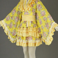 Yellow Long Sleeves Kimono Lolita Dress
