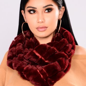 Winter Baby Fur Infinity Scarf - Burgundy