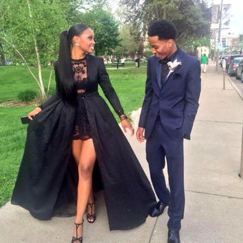 Sexy Two Piece See Through Black Lace Short Prom Dresses With Long Sleeve Detachable Coat Floor Length Evening Pageant dresses
