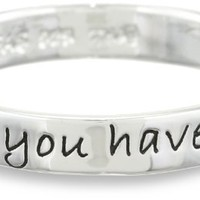 "Sterling Silver ""When You Have Faith, Anything is Possible"" Ring, Size 8"