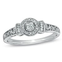 1/7 CT. T.W. Princess-Cut Quad Diamond Promise Ring in Sterling Silver - Size 7 - View All Rings - Zales