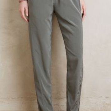 Bella Luxx Willow-Silk Trousers in Moss Size: