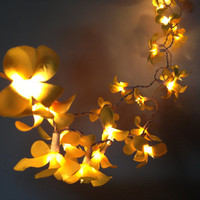 35 Bulbs Lovely Yellow Frangipani flower string lights for Patio,Wedding,Party and Decoration