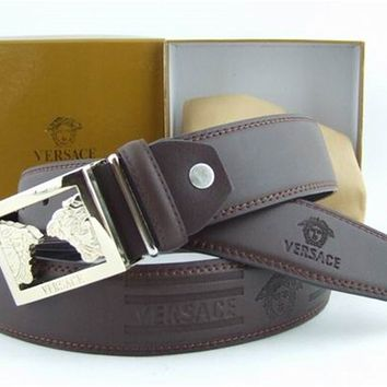 Versace Collection Italy Men's Silver Buckle Logo Coffee Leather Versace Belt