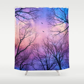 A New Day Will Dawn (Day Tree Silhouettes) Shower Curtain by Soaring Anchor Designs ⚓