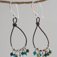 Silver Earrings Sundance Jewerly Boho Earrings Leather Hoop Earrings Sterling Leather Hoops Chinese Turquoise Bead Leather Artisan Jewerly