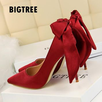 2017 Women shoes  Sweet Butterfly-knot stiletto high heels Single shoes Pointed toe silk woman pumps Wedding party shoes woman