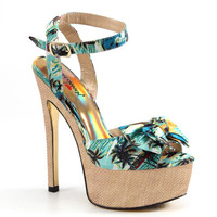 Luichiny Shoes Love Potion High Heel Platform Sandals - Turquoise