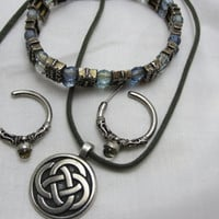 Celtic jewelry set eternity knot necklace, hoop earrings and blue silver clear beaded bracelet silver tone