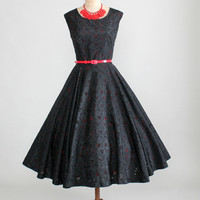 Vintage 1950s Frances Prisco Black and Red Party Dress