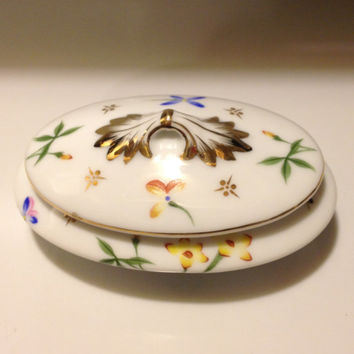 Vintage Kirch Petite Porcelain Trinket Box Spring Floral Pattern Gold Trim