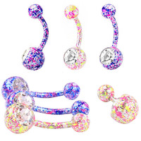 Colorful Crystal Rhinestone Floral Dangle Belly Button Navel Ring Body Piercing Jewelry