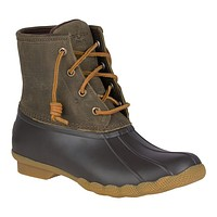 Women's Saltwater Duck Boot in Brown and Olive by Sperry - FINAL SALE
