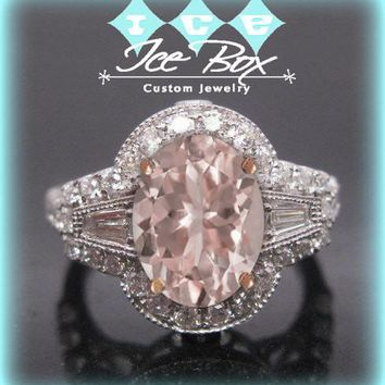 Morganite Engagement Ring 2.5ct, 7 x 9mm Oval Morganite in a 14k White and Rose Gold Two Toned Diamond Halo Setting