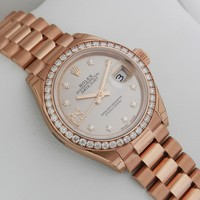 ROLEX Datejust 28mm Rose Gold 279135RBR Sundust Diamond President Ret: $38,100
