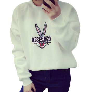 New 2015 Autumn Winter Women Fashion Cute Cartoon Bugs Bunny Printed Sweatshirts Loose Casual Women Hoody Sport Coat Hoodies