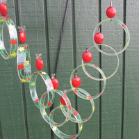 Recycled wine bottle wind chime, Juniper wood, Painted glass circles, Butterfly  Beads, Red, Yellow, green, circle glass windchime