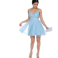 Cyndi Light Blue Glitter Prom Dress
