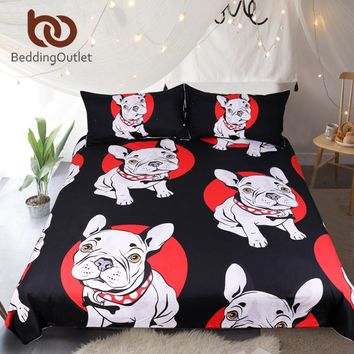 Pug Bulldog Bedding Set Black and Red Quilt Cover With Pillowcases Cartoon Pug Dog Home Textiles for Kids 3-Piece