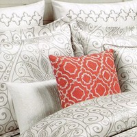 Tahari Home 3pc Duvet Cover Set Paisley Scroll Medallion Gray Silver Grey White Luxury Cotton Sateen (King)