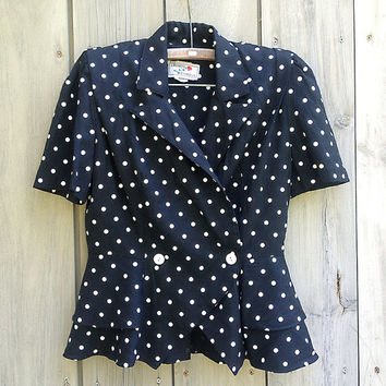 Vintage blazer | Black short-sleeved peplum jacket with white polka dots