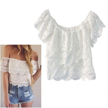 2016 New Sexy Lace Crochet Blusas Femininas Fashion Women Petal Sleeve Summer Shirt&Blouse Hot Sale Casual Short Shirts Tops SM6