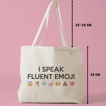 TBAG-472 - I Speak Fluent Emoji - Printed Tote Bag Canvas - by HeartOnMyFingers