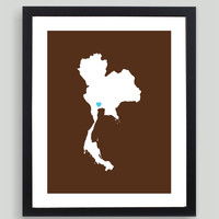 My Heart Resides In Thailand Art Print - Any City, Town, Country or State Map Customized Silhouette Gift