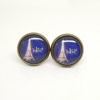 1Pair Retro Epoxy Glass Transparent Time Gems Alloy Blue Paris Effiel Tower Earstud Fashion Jewelry Fr iend Gift
