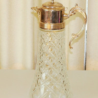 Vintage Glass Pitcher with Silver Plate Top Spout