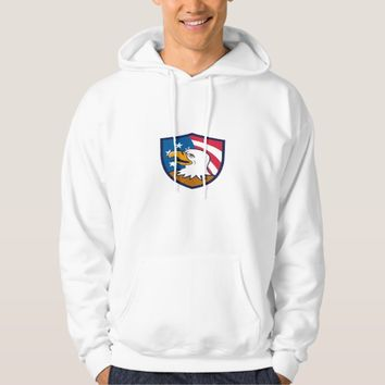 Bald Eagle Smiling USA Flag Crest Cartoon Hoodie