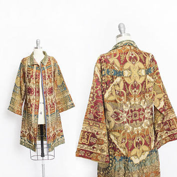 Vintage 1920s Coat - Silk Embroidered Art Deco Jacket 20s Egyptian Art Nouveau Bohemian - Small
