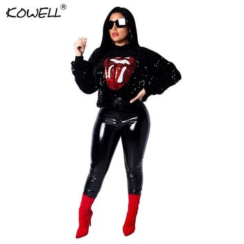 2018 New Womens Sequins Eye Cry Tougue Lip Sexy Round Neck Pullovers Long Sleeve Hooded Blouses Hoodies Active Wear Plus Size