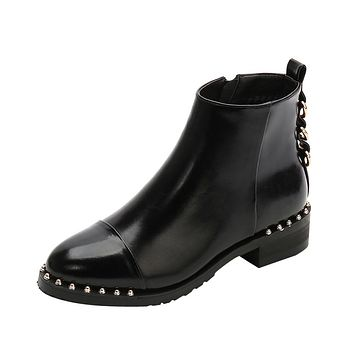 Women Rivet Flat Shoes Martain Boots Leather Ankle Boots Round Toe Zipper Shoes