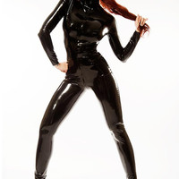 Black Leather Cat Woman Suit