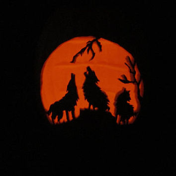 "Carved Pumpkin Jack O Lantern Wolf 13"" Halloween Light LG Hand Carved Wolves Decoration Accent w Orange Flicker Tea Light Home Office Decor"