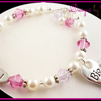 Design your own Big Sister or Lil Sister Personalized pearl & crystal Bracelet - choose your color(s)!