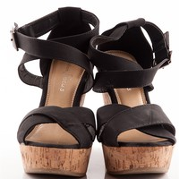Let the Sunshine In Cross Strap Cork Heel Wedge Sandals - Black