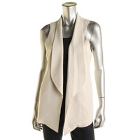 Eileen Fisher Womens Petites Silk Open Front Suit Vest