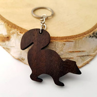 Wooden Skunk Keychain, Walnut Wood, Animal Keychain, Environmental Friendly Green materials