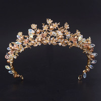 OPAL FERRIE - Magnificent Gold Crystal Flower Tiara Crown hair Accessorie