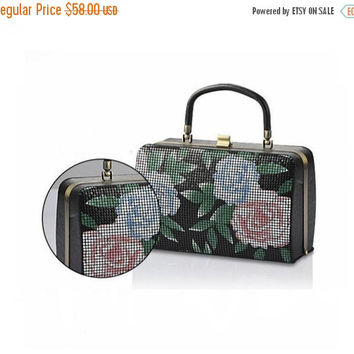 SPRING 15%OFF Print Metal Mesh Clutch Purse –Floral Handbag-Wedding Clutch Purse-Evening Bag