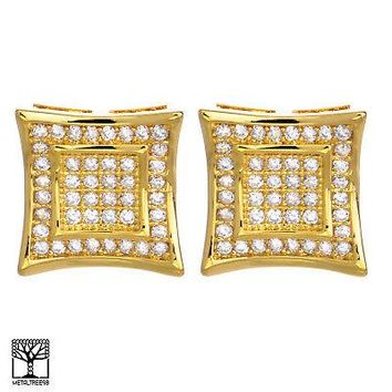 Jewelry Kay style Men's 14K Gold Plated Double Square Kite Screw Back Stud Earrings BE 002 G