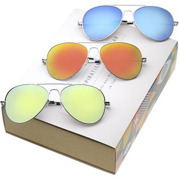 Retro Flash Mirror Lens Metal Aviator Sunglasses 1485 [Promo Box]
