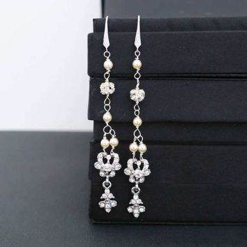 Long Wedding Earrings Bridal Earrings Chandelier Sterling Silver Cubic Zirconia Ivory Pearl Crystal Earrings Vintage Style Bridal Jewelry