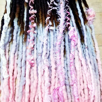 Wool Dreadlock Set of 22 Double  Ended Dreads READY TO SHIP