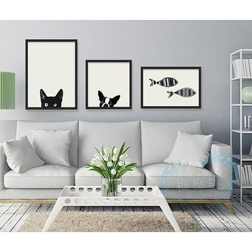 Nordic Paintings  Black Cat Dog Print Poster Modern Wall Picture Canvas Painting Living Rooms Bed Room Home Decor 193