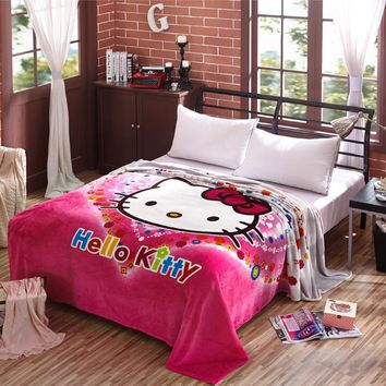 Big Size 200x230cm Cartoon Hello Kitty Pattern for Kids Blanket Coral Fleece Travel/ AirPlane/ Bed /Sofa Blanket Bedspreads